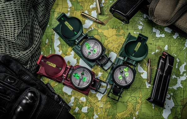Picture map, gloves, bullets, clip, compasses