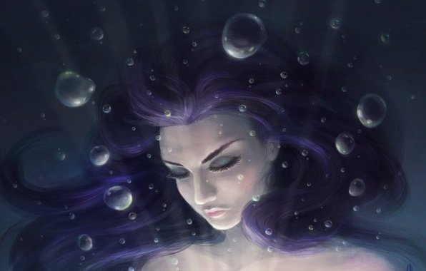 Picture girl, bubbles, art, under water