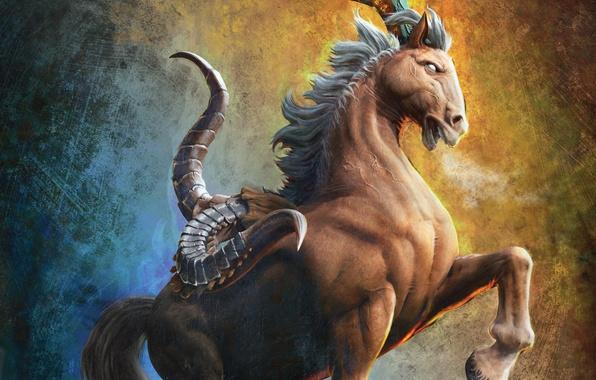 Picture background, fiction, horse, monster, art, horns, hooves