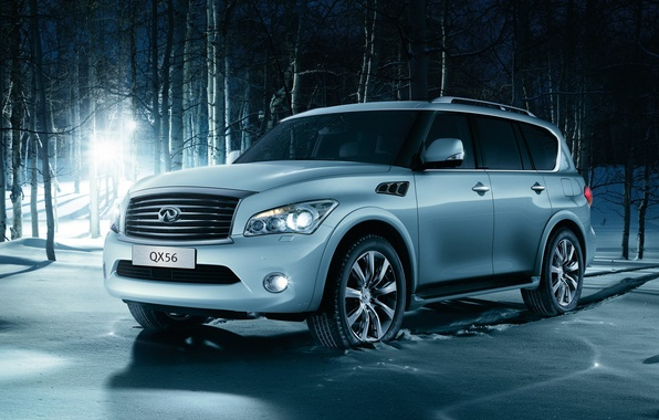 Picture winter, forest, light, snow, jeep, SUV, infiniti, birch, infiniti, qx56, luxury