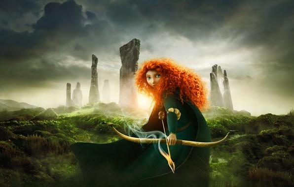 Picture cartoon, warrior, Archer, Disney, Pixar, Pixar, Princess, red hair, Scotland, the movie, film, redhead girl, …