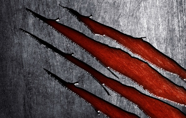 Picture background, texture, scratches, Wolverine, metal