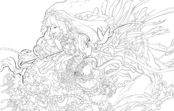 Wallpaper Girl Figure Black And White Anime Art Background One Images For Desktop Section