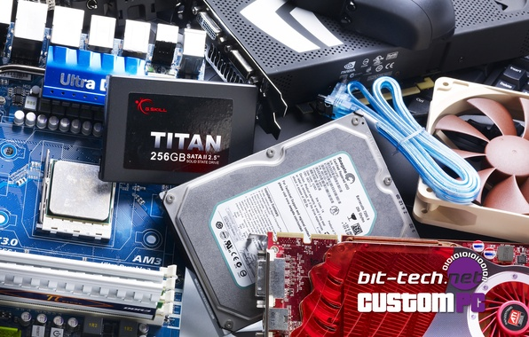 Picture hardware, keyboard, hard drive, motherboard, cooler, video card, cables, solid hard disk