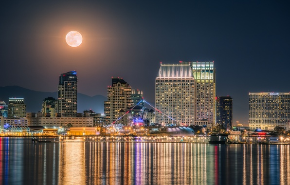 Picture water, glare, the moon, ship, building, port, CA, the carrier, night city, skyscrapers, California, San …