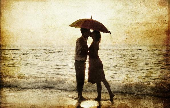 Picture sea, girl, retro, barefoot, umbrella, Sepia, pair, surf, male, lovers