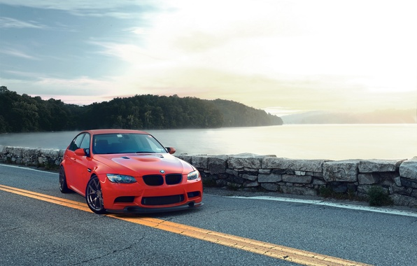 Picture the sky, clouds, sunset, red, bridge, river, bmw, BMW, red, e90