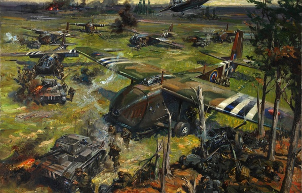 "Picture oil, picture, canvas, the artist Terence Cuneo, ""The operation on the coast"""