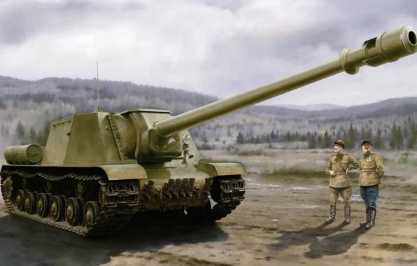 Wallpaper war, art, tank, ww2, russian tank, ISU-152 images for
