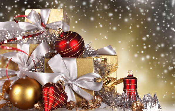 Picture balls, snow, tape, balls, toys, New Year, Christmas, gifts, red, gold, box, Christmas, Christmas