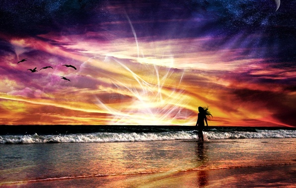 Picture sea, wave, energy, girl, space, flight, landscape, sunset, red, bright, nature, abstraction