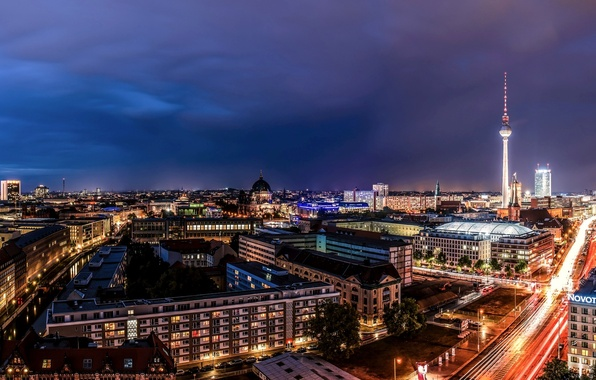 Picture road, the city, lights, building, home, excerpt, Germany, backlight, panorama, Germany, street, tower, capital, Germany, ...
