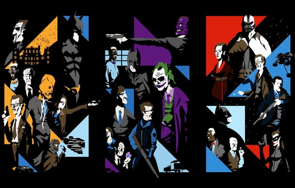 Picture collage, The Dark Knight, characters, The Dark Knight Rises, Batman Begins