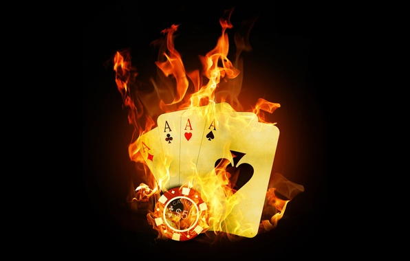 Picture Fire, Card, Poker, Casino, Flame, Aces