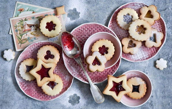 Picture winter, cookies, Christmas, spoon, dishes, still life, holidays, jam, cookies