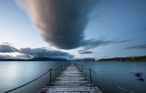 Picture Chile, nube, muelle, Puerto Natales, patagonia