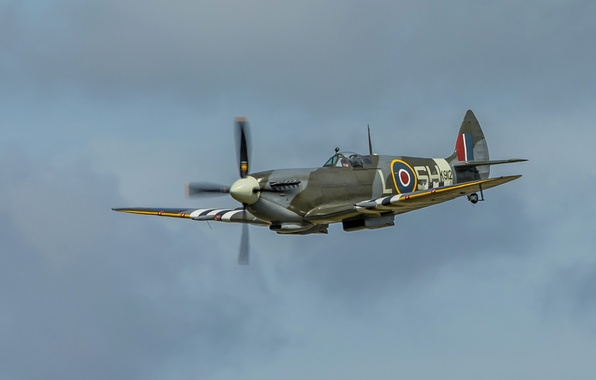 Picture the sky, flight, the plane, fighter, propeller, Spitfire, scout, interceptor, Supermarine