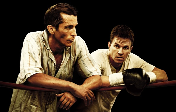 Picture Boxing, gloves, the ring, ropes, black background, Fighter, poster, Mark Wahlberg, Christian Bale, Mark Wahlberg, …