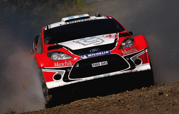 Picture Ford, Water, Red, Auto, Sport, Machine, Speed, Ford, Race, Squirt, Lights, WRC, the front, Rally, …