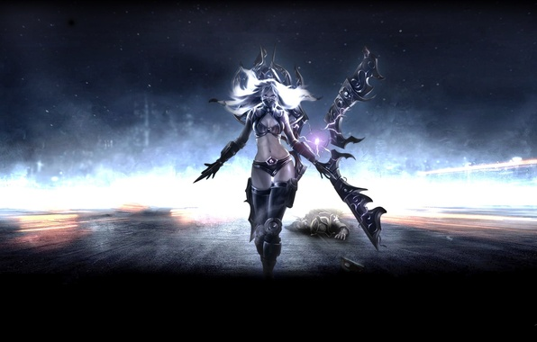 Picture girl, weapons, the game, art, charge, League of Legends, Irelia