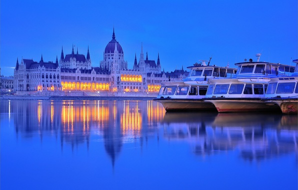Picture lights, river, the evening, twilight, boats, Parliament, Hungary, Budapest, The Danube