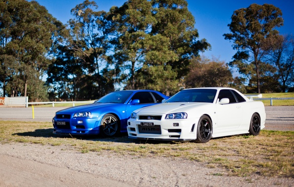 Picture white, blue, tuning, GT-R, Nissan, Nissan Skyline, R34, skyline
