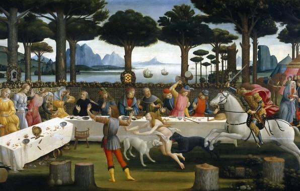 Picture sea, trees, mountains, table, people, picture, meal, genre, mythology, Sandro Botticelli, History Nastagio Degli Onesti …