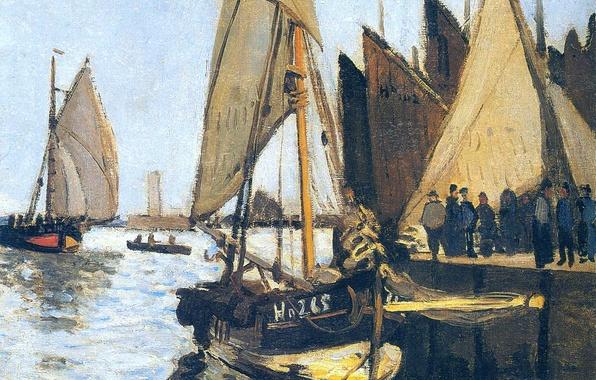 Photo wallpaper picture, seascape, Claude Monet, Sailing ships at Honfleur