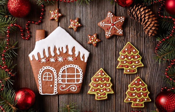 Picture New Year, cookies, Christmas, Christmas, cakes, sweet, Xmas, glaze, cookies, decoration, gingerbread, Merry
