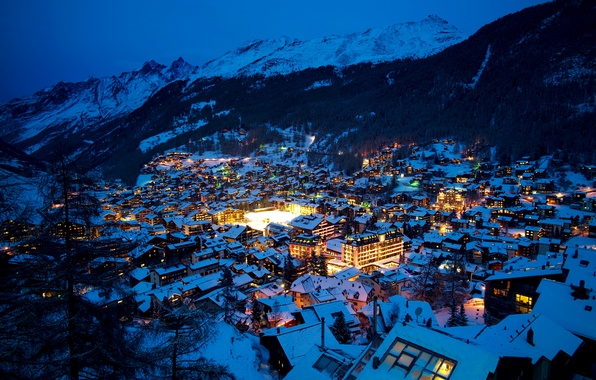 Picture winter, snow, trees, mountains, night, lights, home, Switzerland, valley, Alps, Zermatt, Swiss Alps