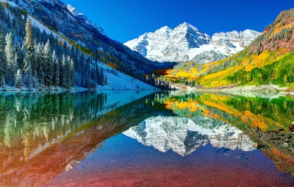 Picture autumn, forest, the sky, water, snow, reflection, mountains, lake, Colorado, USA