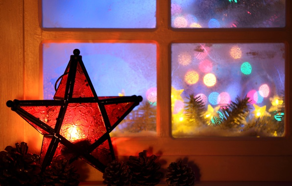 Picture lights, star, tree, candle, window, New year, garland, Christmas, bumps, New Year, candle, 2017