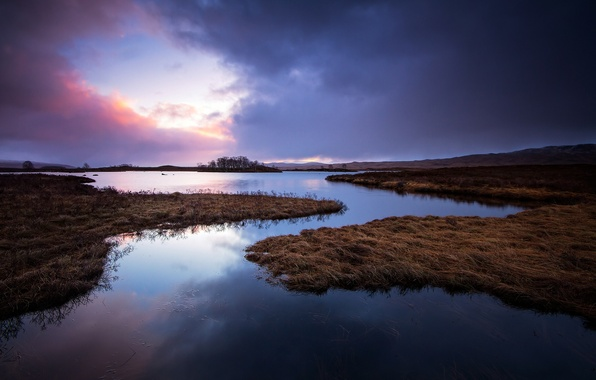 Picture lake, sunrise, morning, Scotland, UK, Scotland, Great Britain, Islands