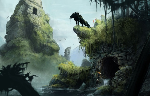 Picture grass, water, pond, rocks, people, monster, art, cave, ruins, The Secret World, abandonment