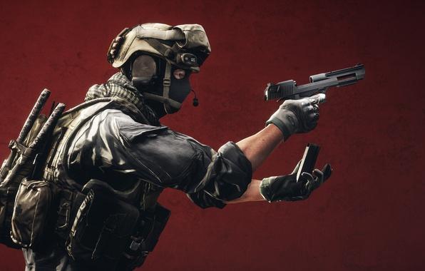 Picture gun, background, soldiers, equipment, clip, Battlefield 4