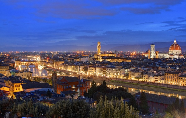 Picture lights, home, the evening, roof, Italy, Florence, twilight, Tuscany