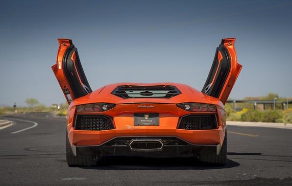 Picture orange, shadow, lamborghini, orange, back, aventador, lp700-4, Lamborghini, aventador, doors