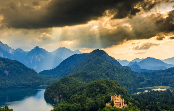 Picture forest, landscape, mountains, nature, castle, panorama, Germany, Schwangau