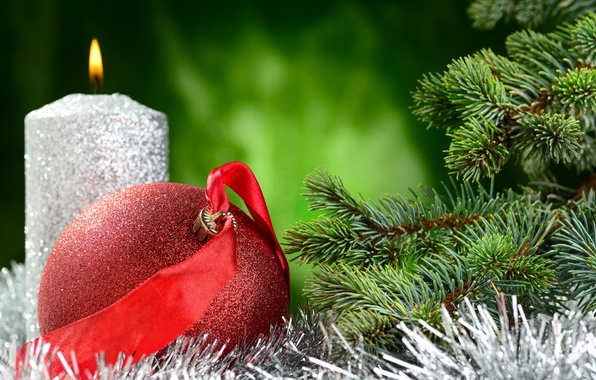 Picture balls, tree, candle, New Year, Christmas, tinsel, Christmas, New Year, decoration