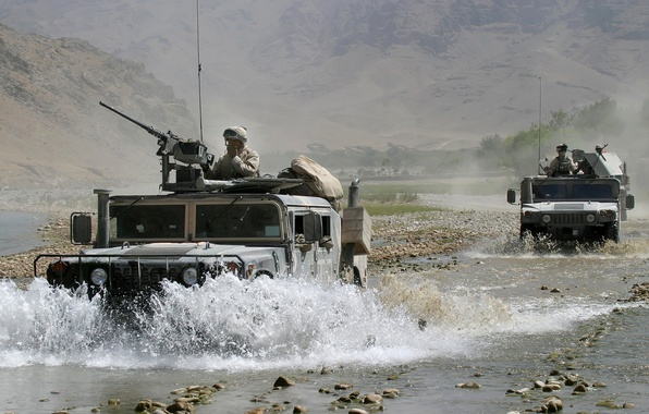 Picture mountains, river, stones, Hammer, soldiers, USA, cars, army, Afghanistan, guns, army, contingent
