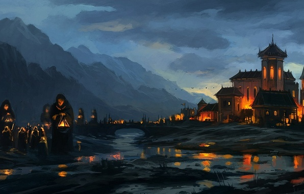 Picture bridge, river, the evening, art, lights, the monastery, monks
