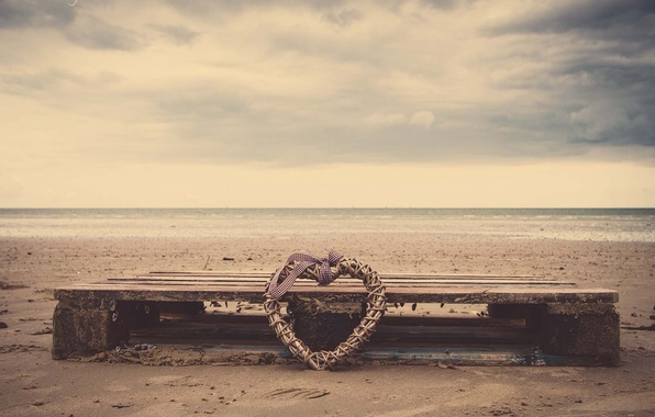 Picture sand, sea, beach, water, nature, river, heart, tape, bow, heart, bow, netting, HD wallpapers, Wallpaper …
