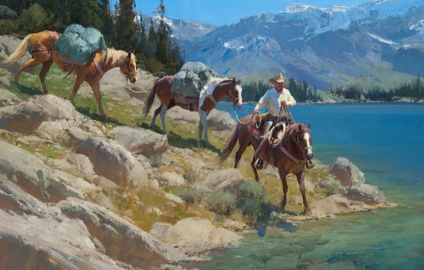 Picture the sky, trees, landscape, mountains, lake, horse, cowboy, Anton Bill