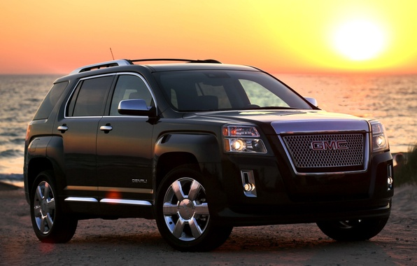 Picture the sun, sunset, black, shore, jeep, the front, GMC, Denali, Terrain