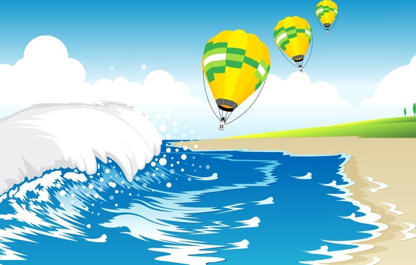 Picture sea, wave, the sky, clouds, balloon, shore, vector