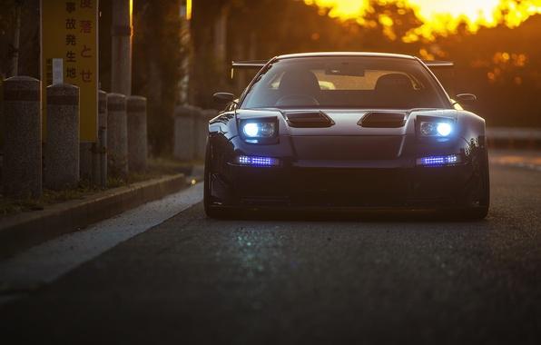 Picture car, sunset, honda nsx