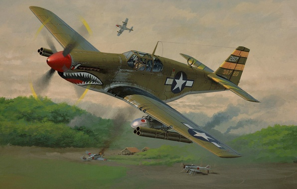 Picture Mustang, fighter, Americans, Mustang, the airfield, P-51, North American, the Japanese