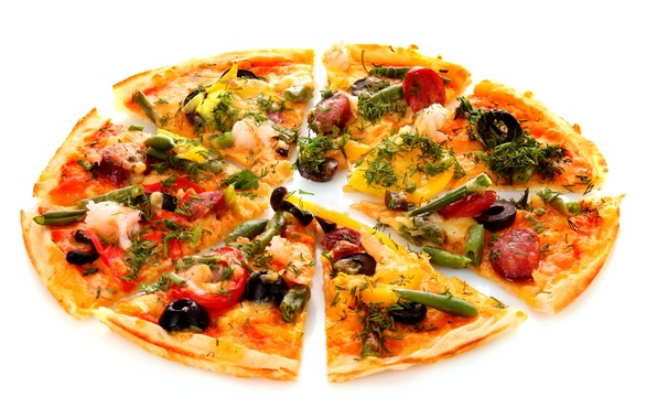 Picture greens, cheese, bow, dill, pizza, tomato, olives, sausage, olives, bell pepper, cheese, pods, greens, tomato, ...