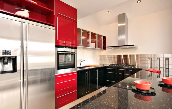 Picture red, design, style, room, interior, kitchen, apartment
