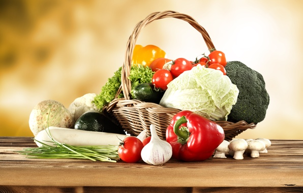 Picture basket, mushrooms, pepper, vegetables, tomatoes, cabbage, cucumbers